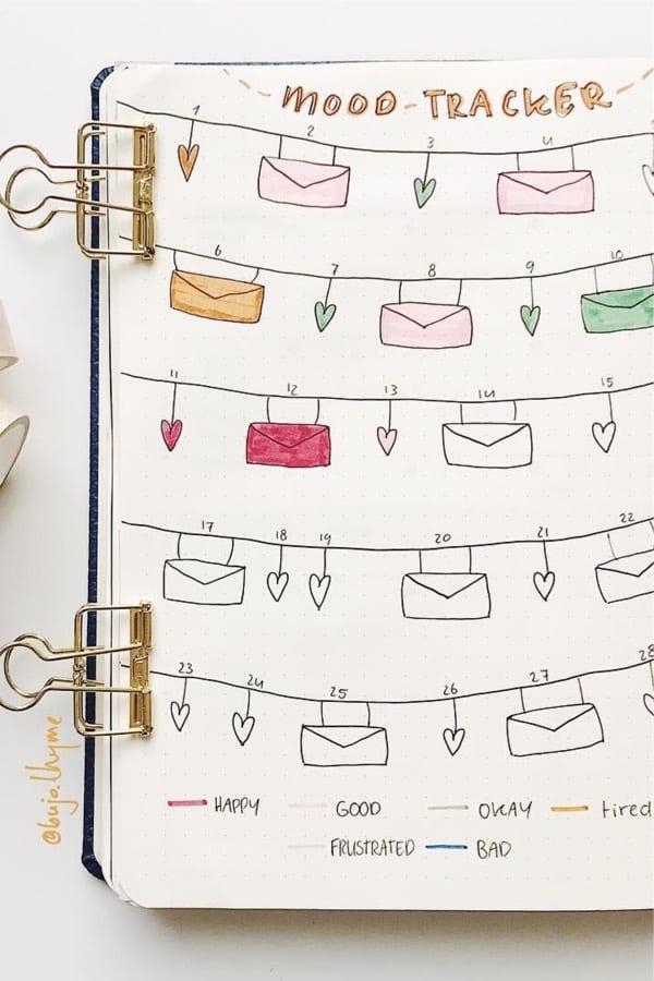bullet journal mood tracker ideas for february