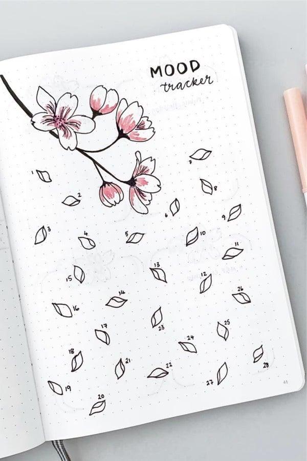 bullet journal mood tracker feb