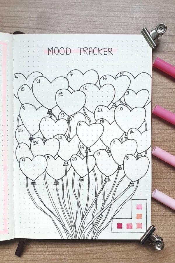 valentine theme mood tracker