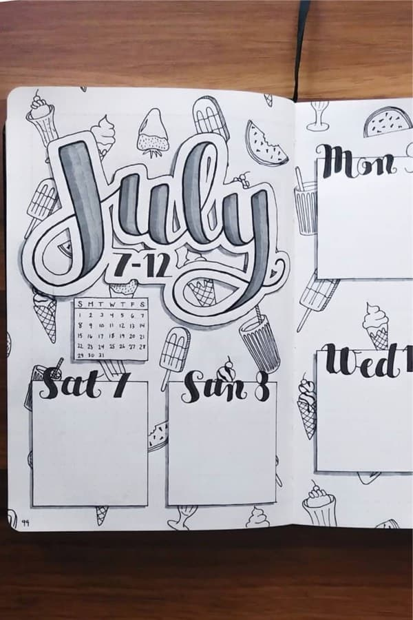 bujo weekly spread ideas