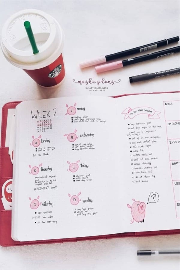 inspiration for bujo weekly spread