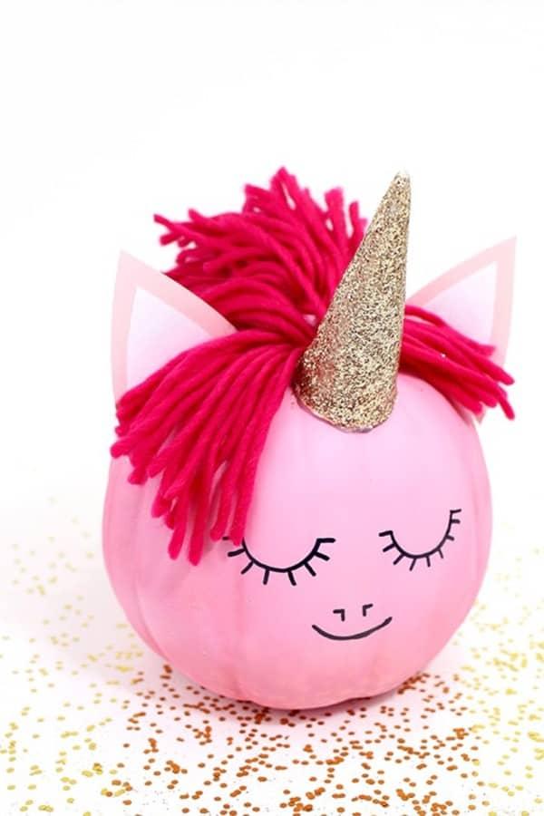 DIY no carve cute Unicorn Pumpkin Craft