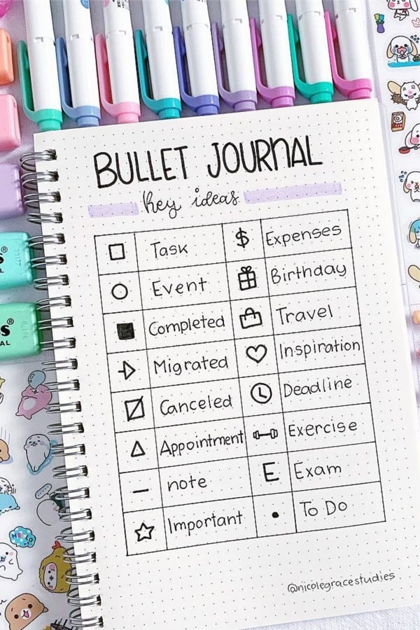 bullet journal key legend