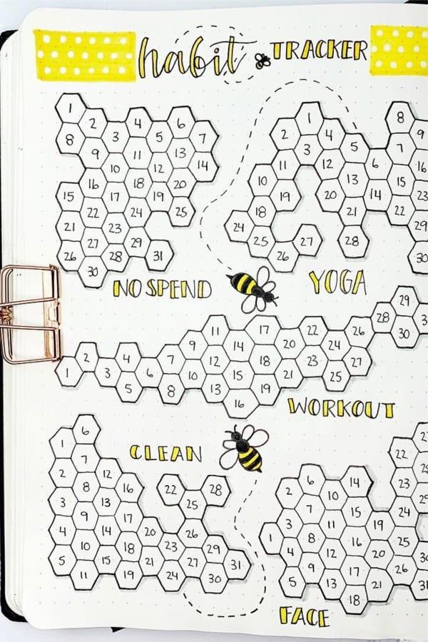 honey comb shaped tracker for bujo