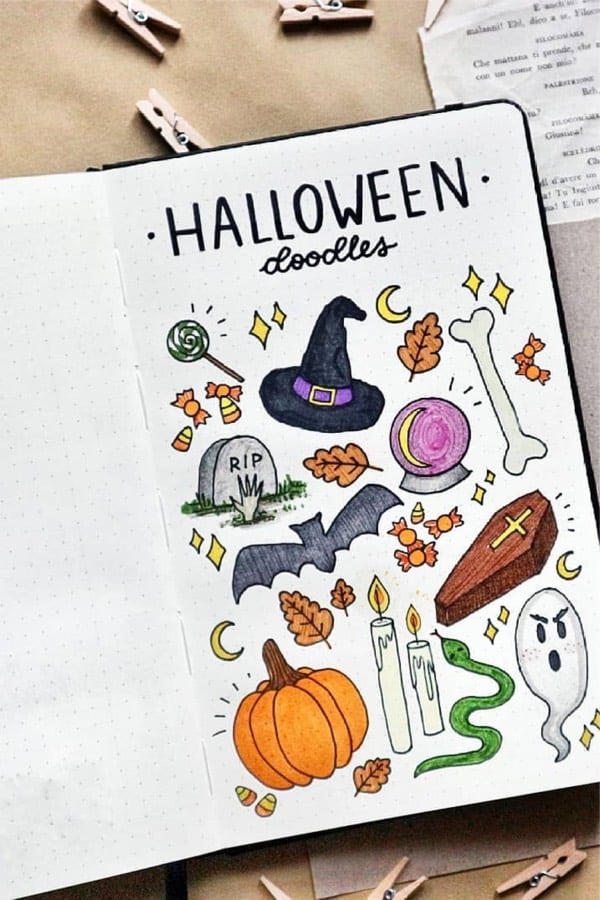 cute halloween illustrations for bullet journal