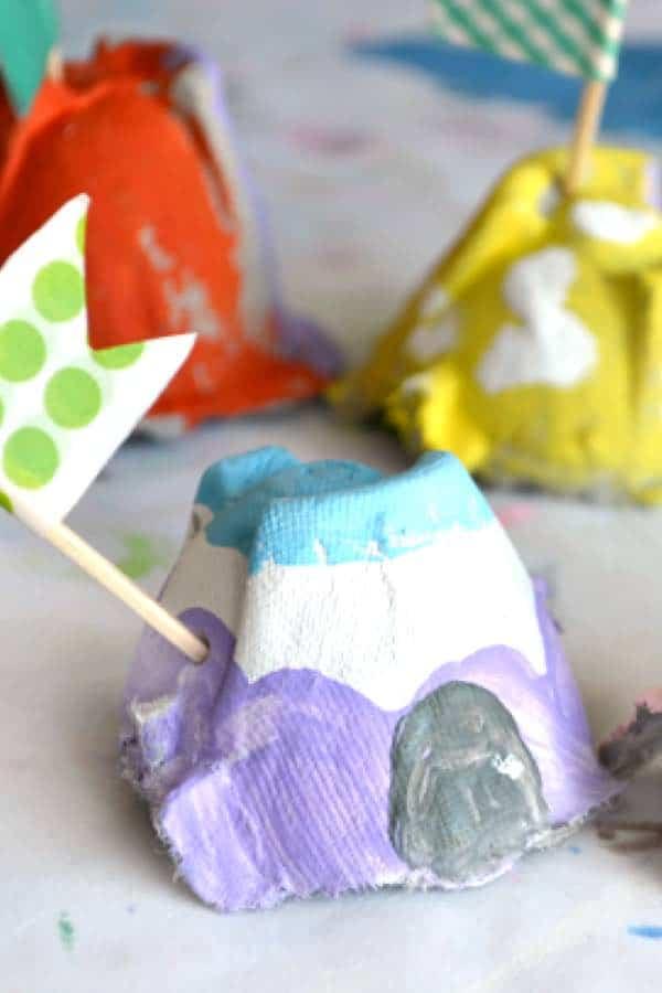 diy fairy house from recycled egg carton