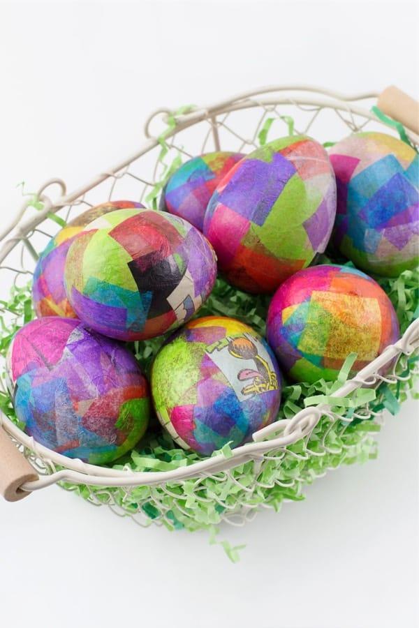 diy tissue paper eggs for easter