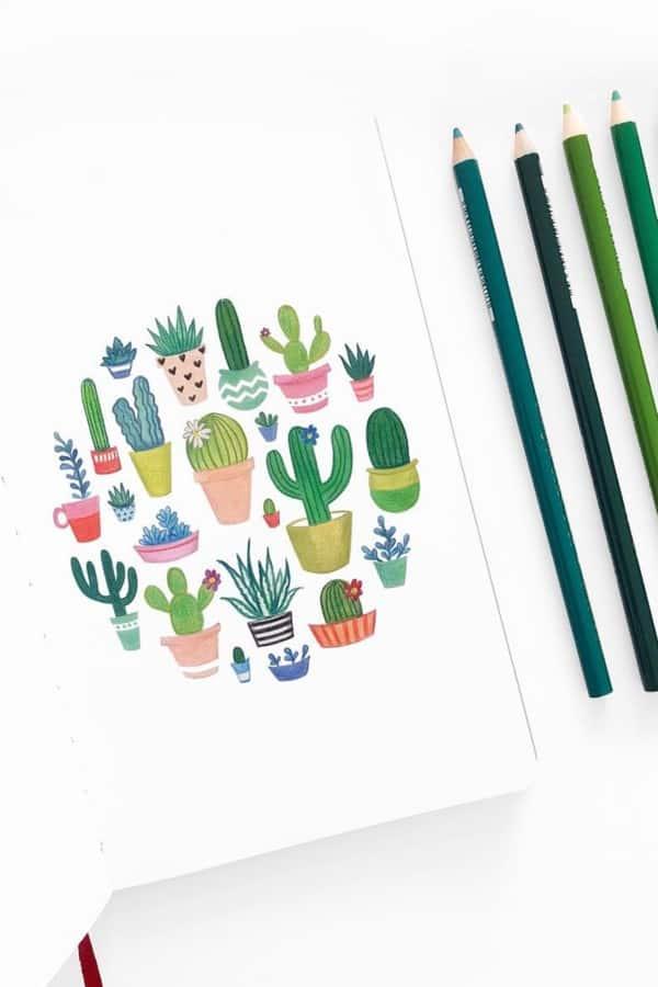green doodles for bullet journal