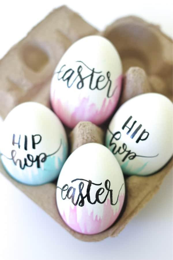 diy hand lettered easter egg ideas
