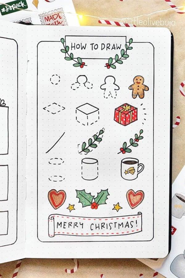 easy christmas doodles for bujo