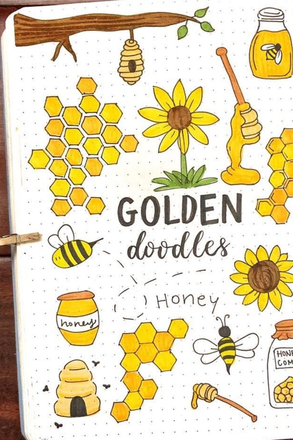 simple gold drawings for bullet journal