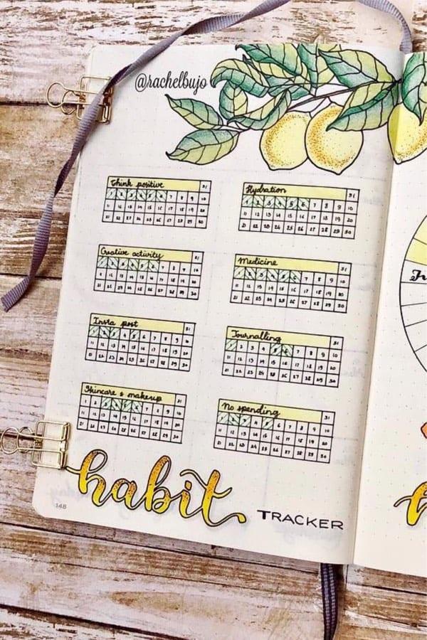 yellow themed habit tracker