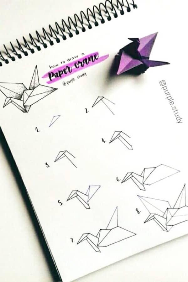 origami doodle in bullet journal