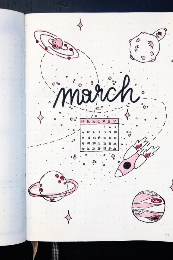 march cover page inspiration for bullet journal