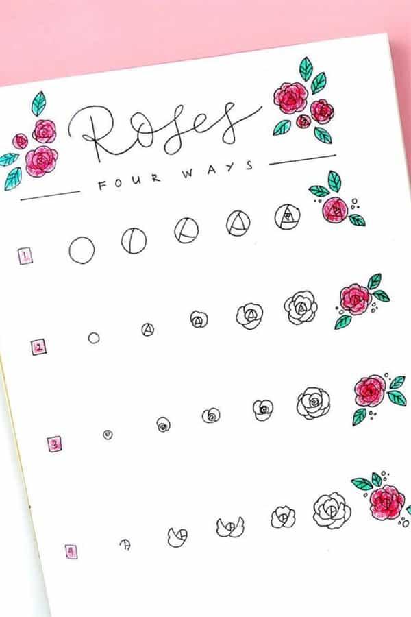 bujo rose tutorial