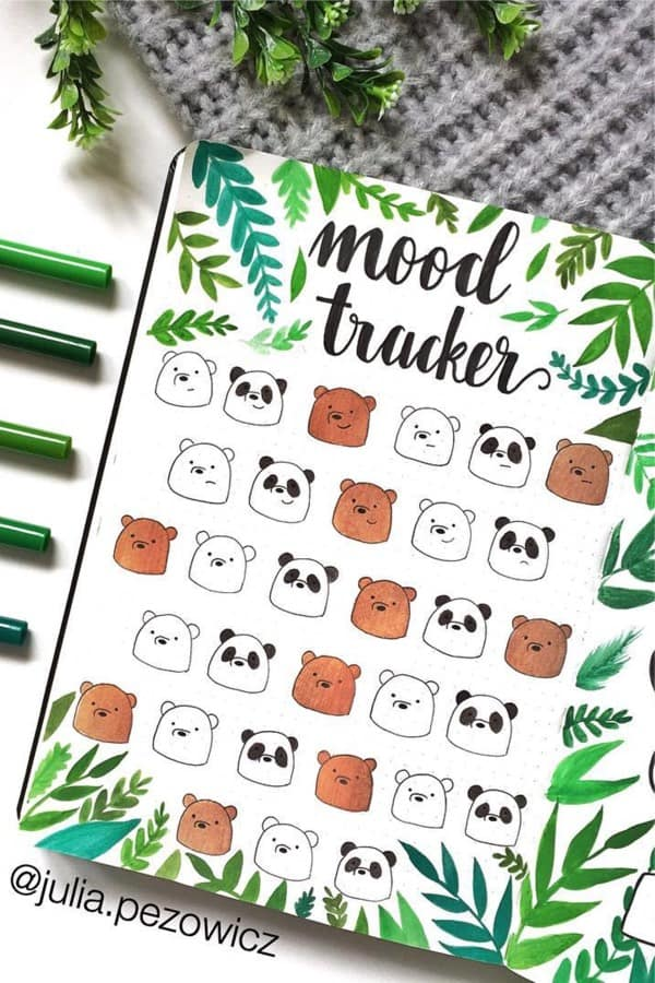 mood tracker with doodles