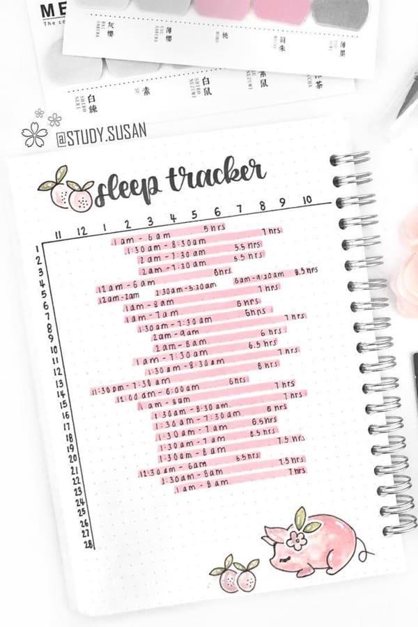 sleep log with pink colors