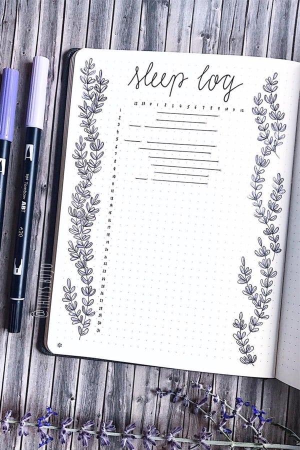 lavender sleep log for bullet journal
