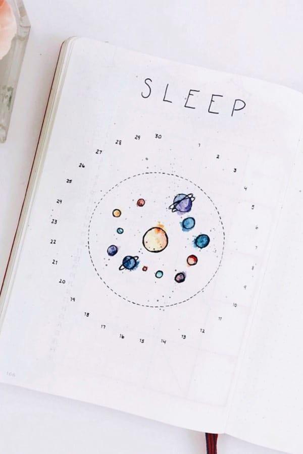 space themed sleep tracker