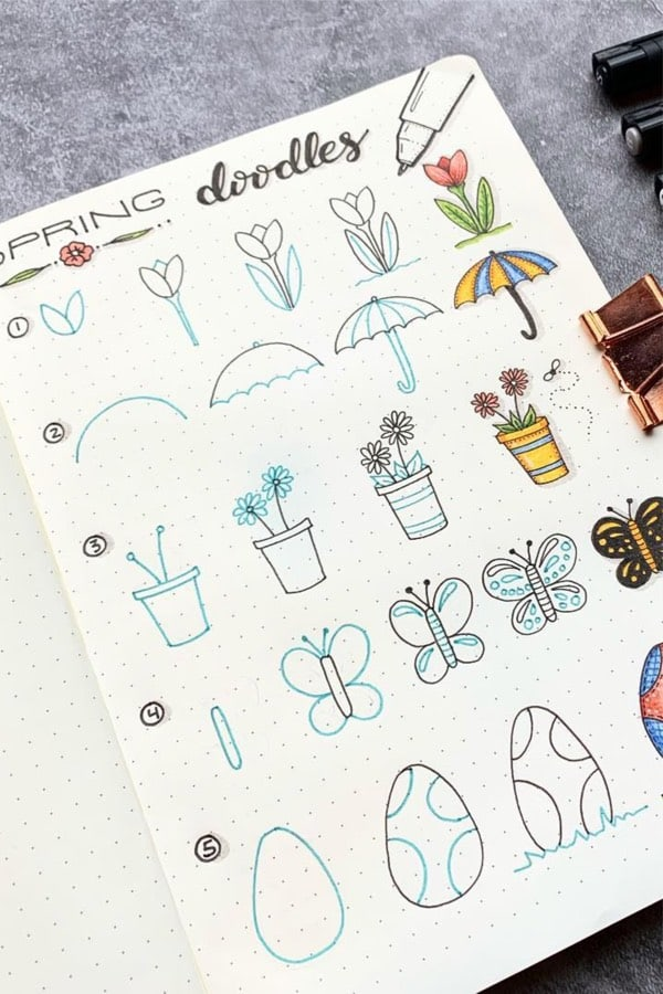 step by step spring doodles