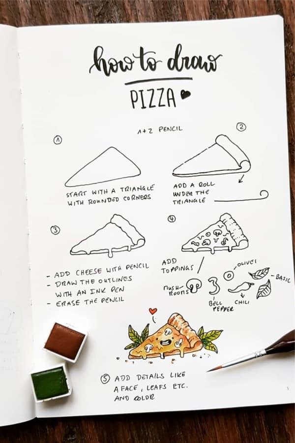 pizza doodle bujo
