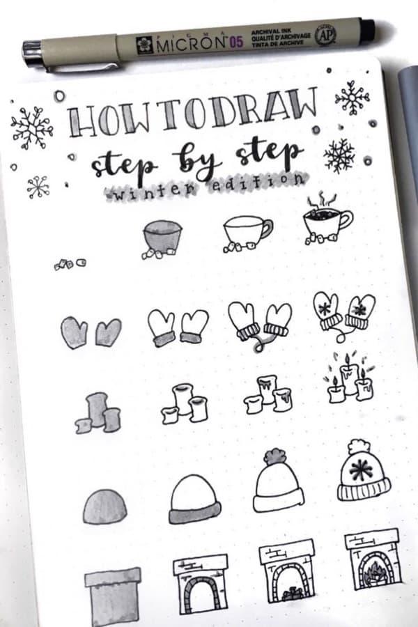 easy winter drawings for bujo