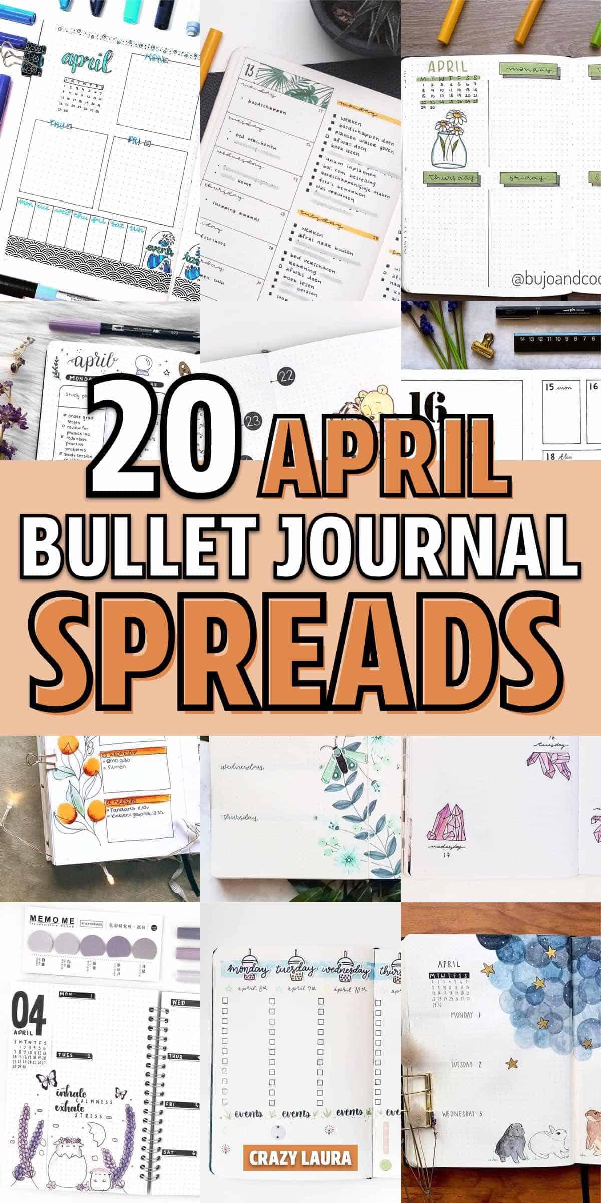 simple bujo spreads for april