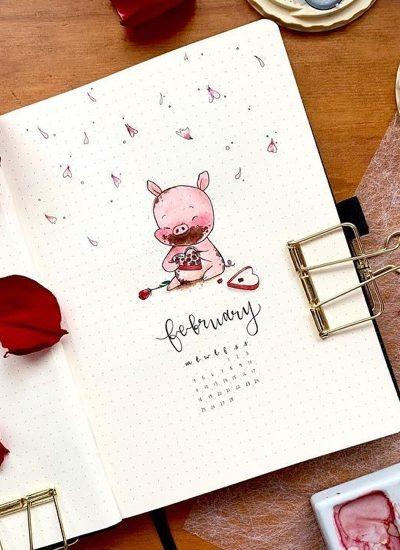 valentines bujo cover spreads