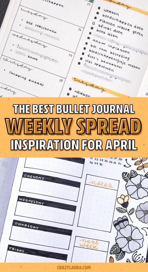 simple april bujo pages