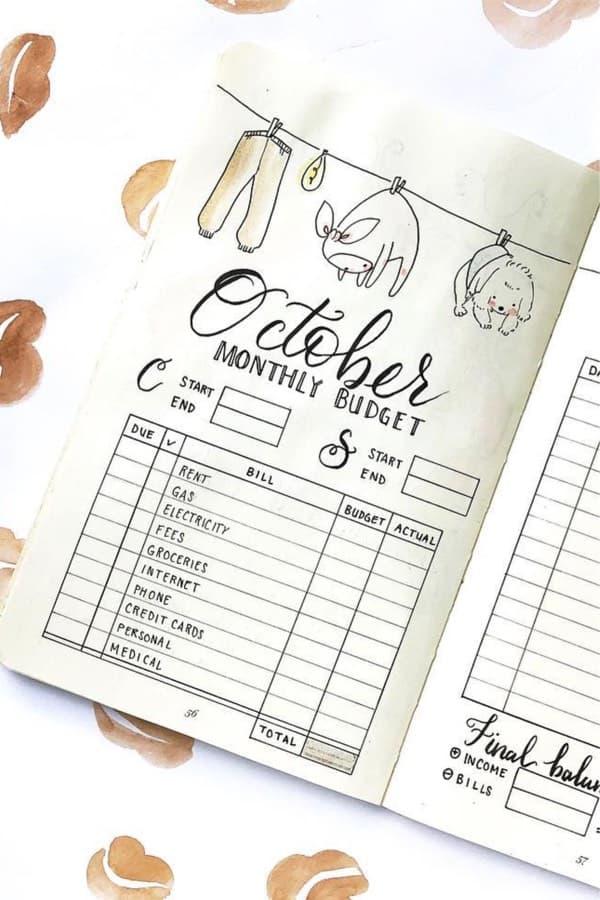 october budget tracker