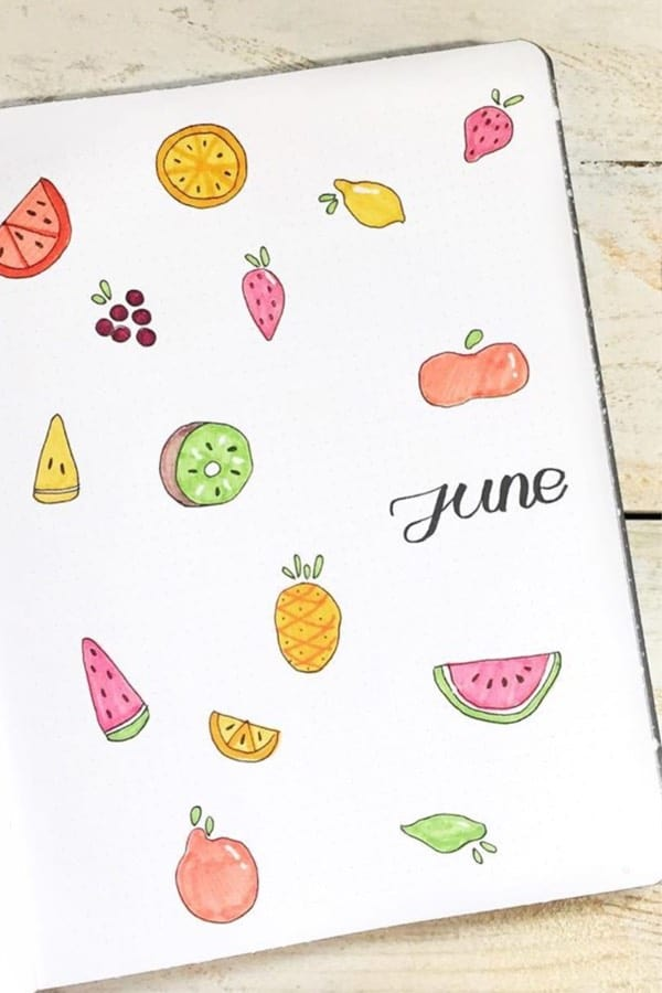 cover page with fruit doodles