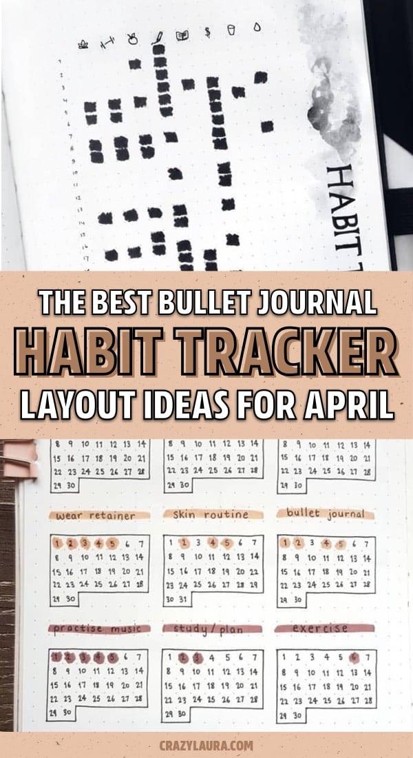 bullet journal habit spreads for april