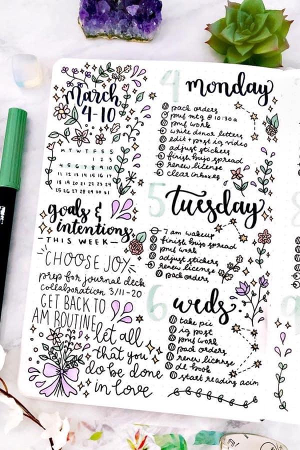 super cute march weekly spread