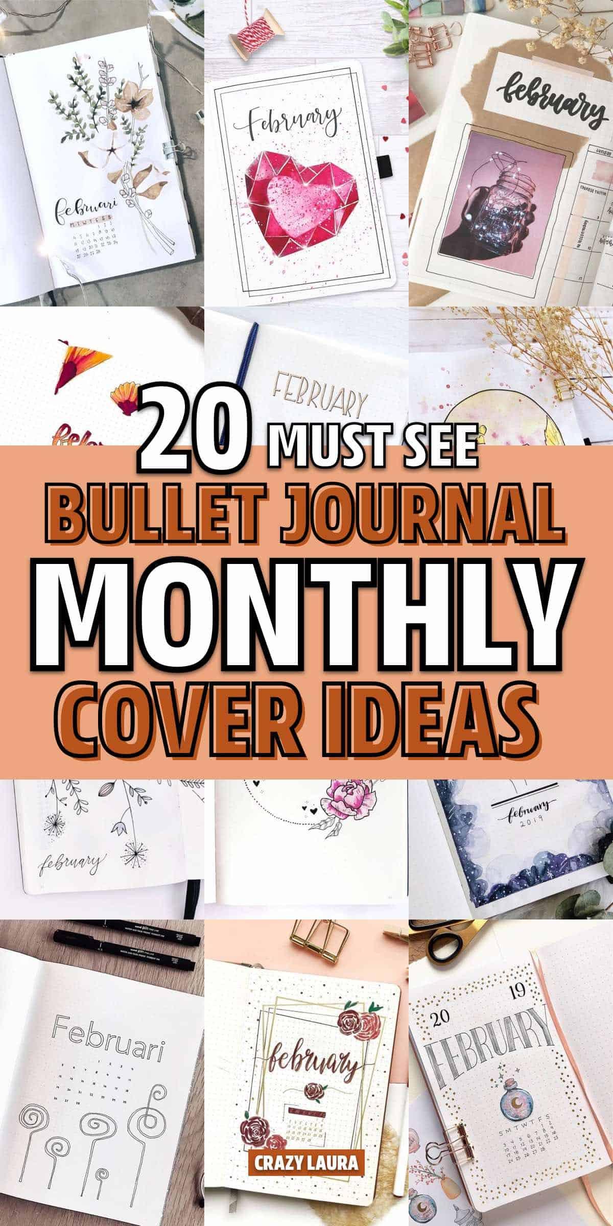 bujo cover spread ideas for feb