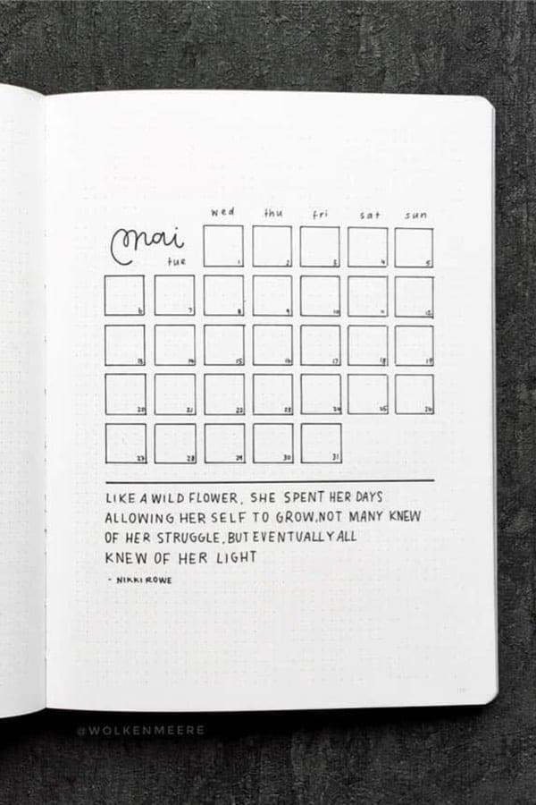 basic monthly log