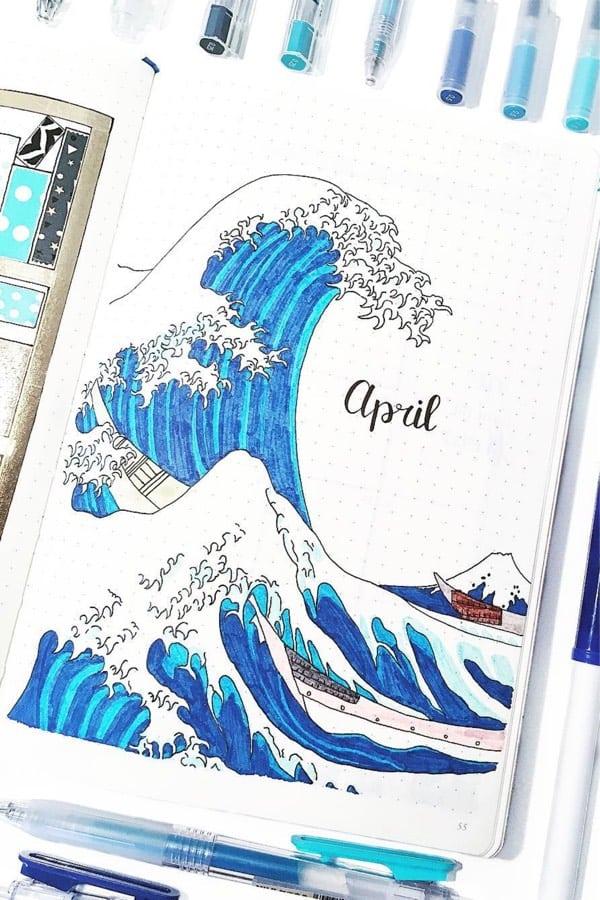 april bujo cover page ideas