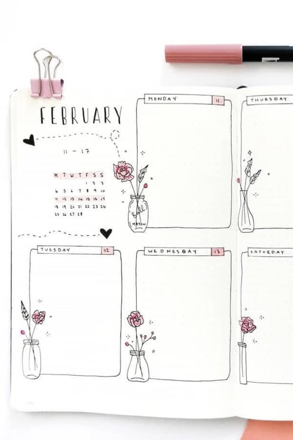 rose theme weekly layout