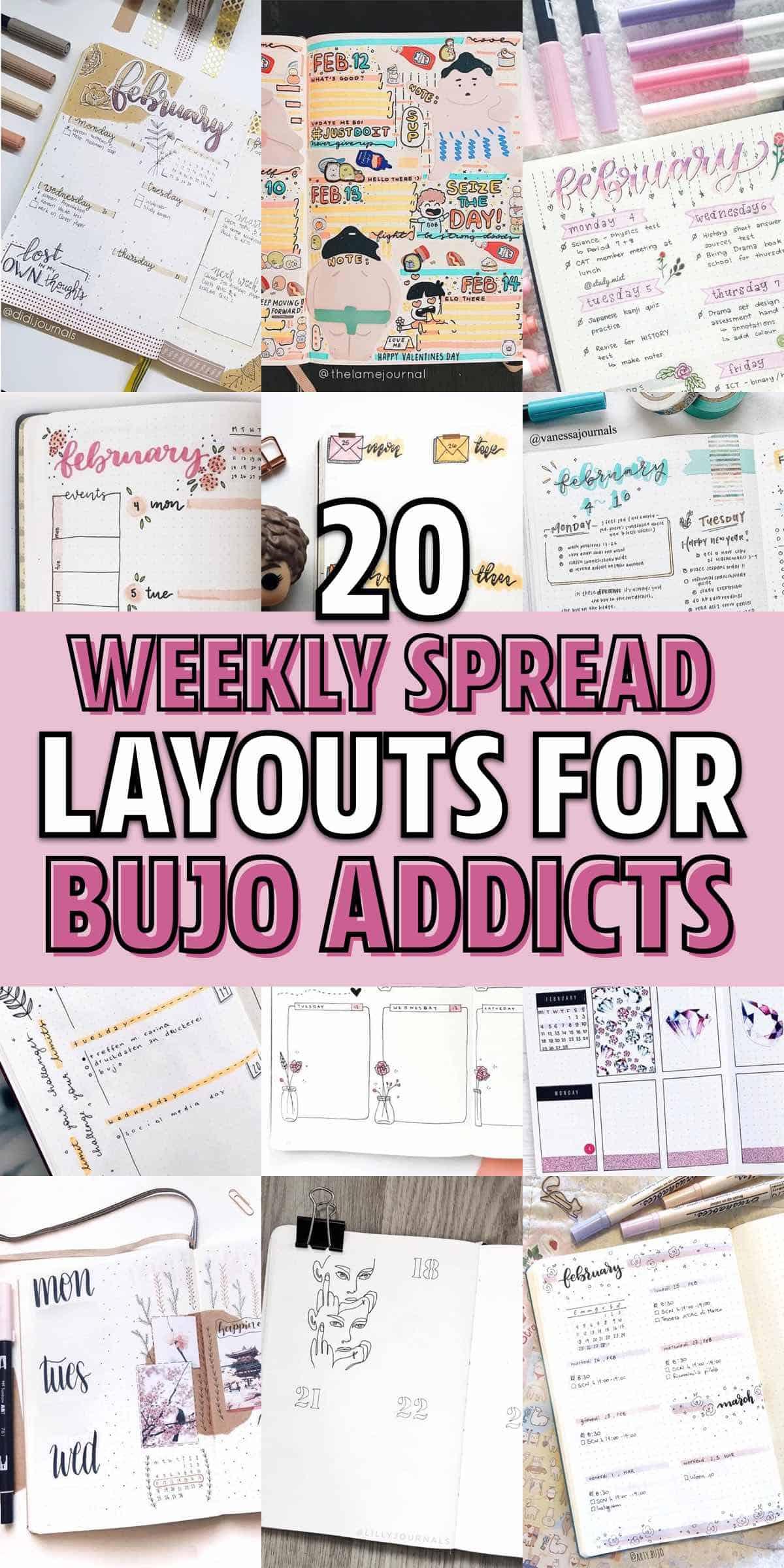 cute february weekly log examples