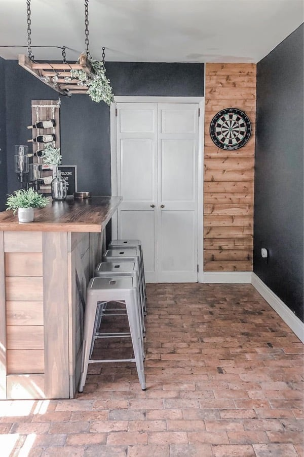 wooden wall behind dartboard