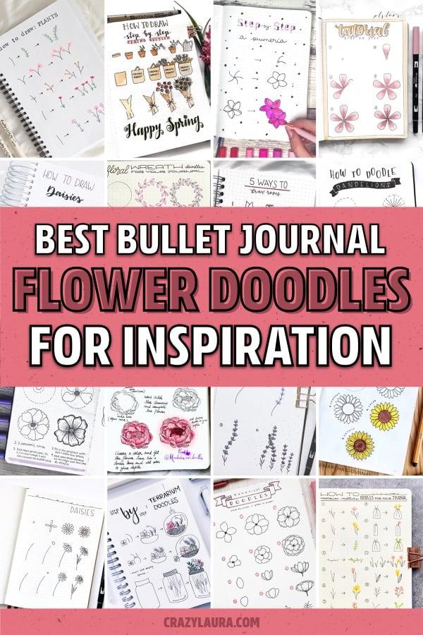 creative flower doodles for bullet journal