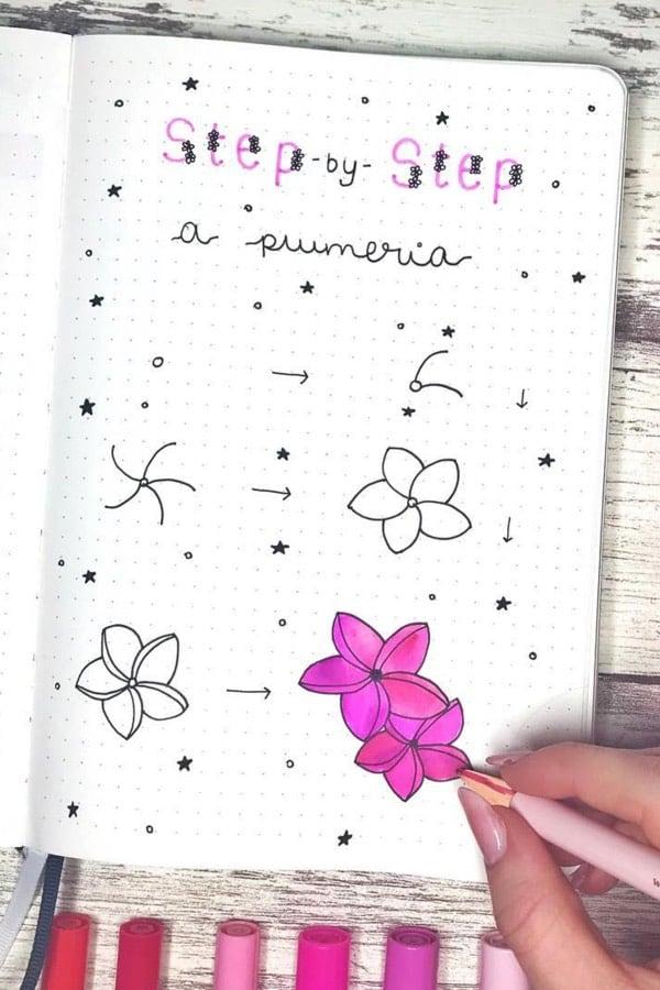 pink flower doodle tutorial