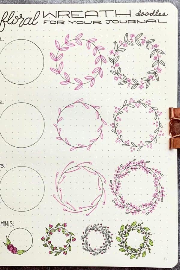 bujo wreath doodle guide