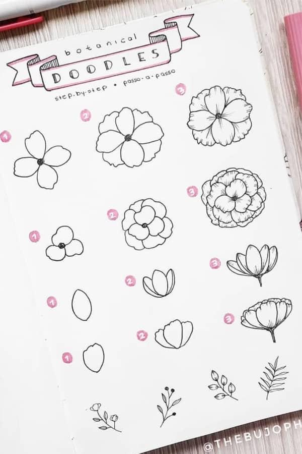 different flower doodle ideas