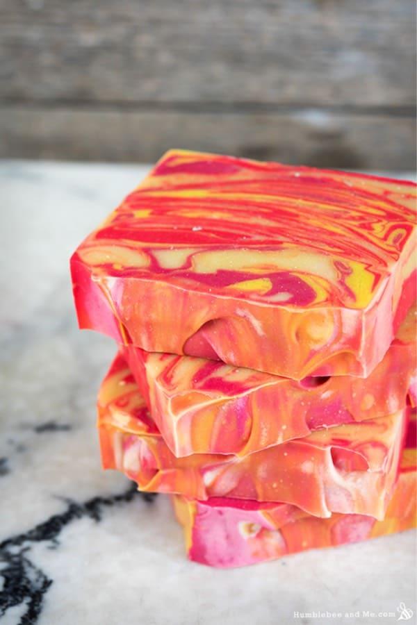 pink and orange diy soap