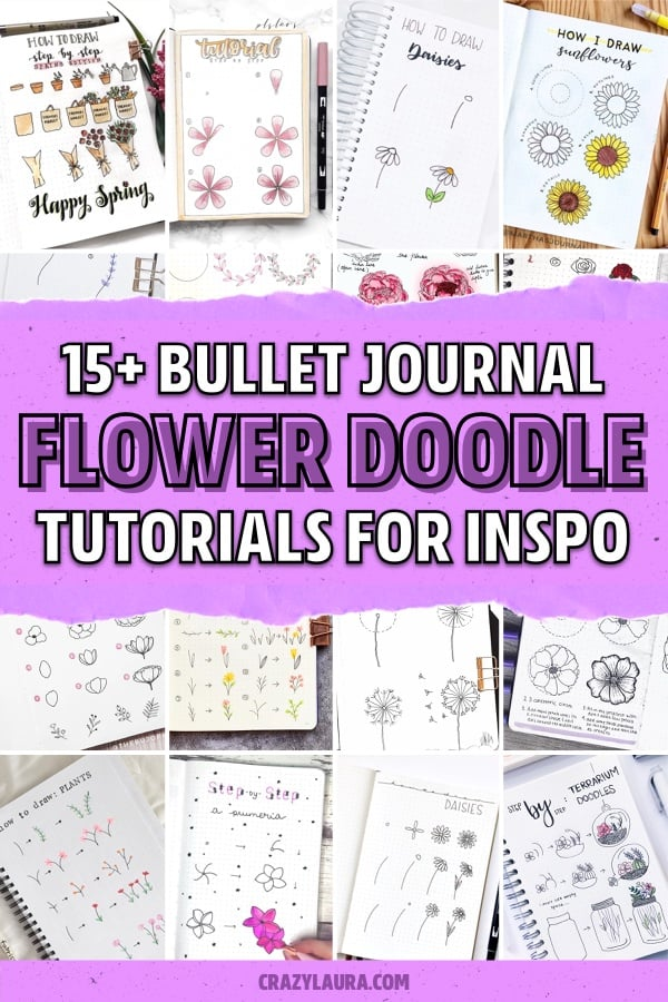 flower theme doodle tutorial spreads