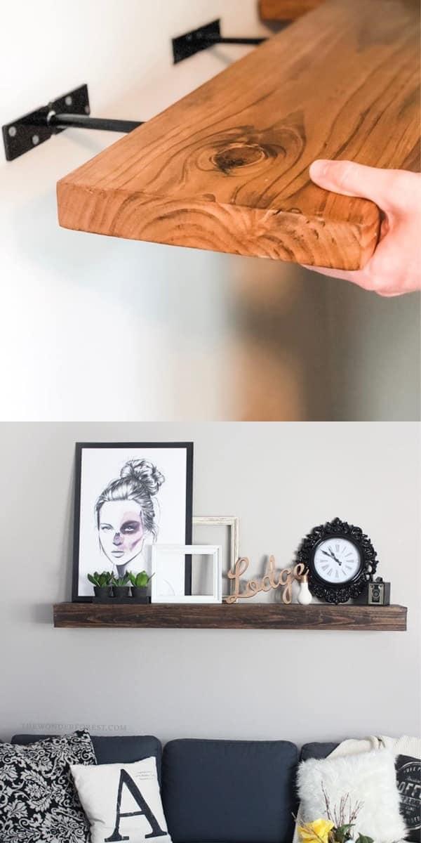 easy rustic floating shelves