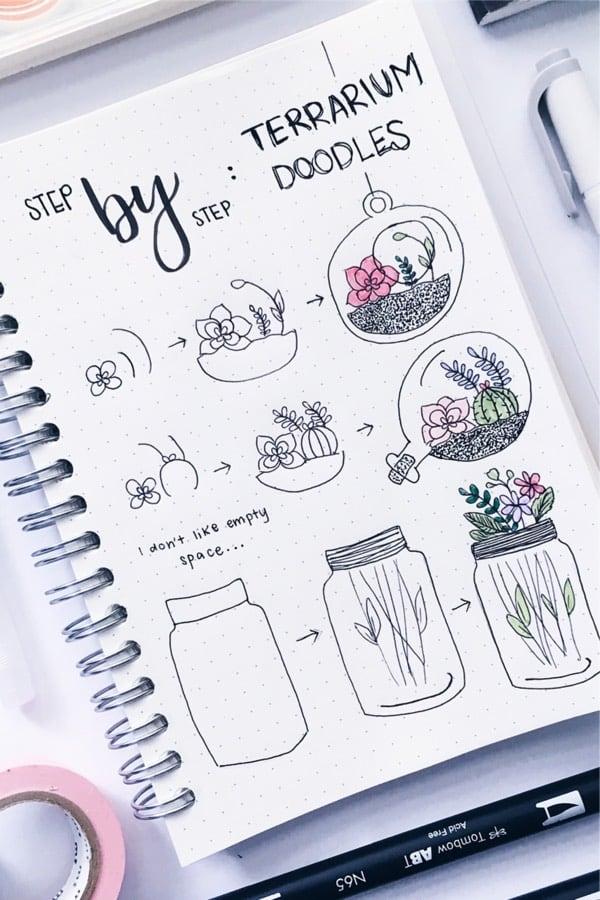 cute terrarium doodle tutorial