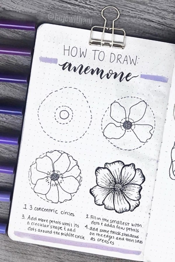 how to draw bujo flowers