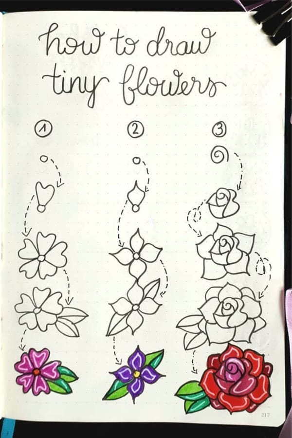 small bujo flower doodles