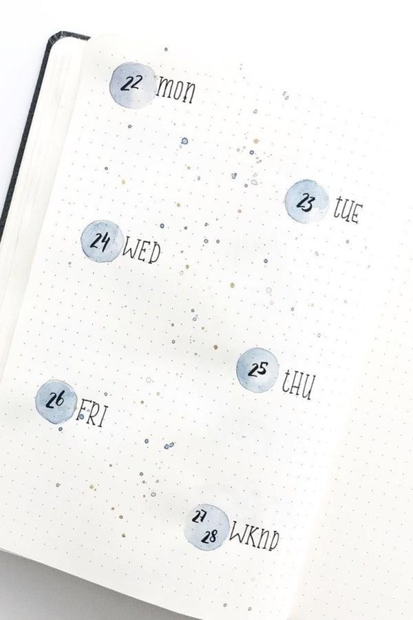 easy bullet journal space spread